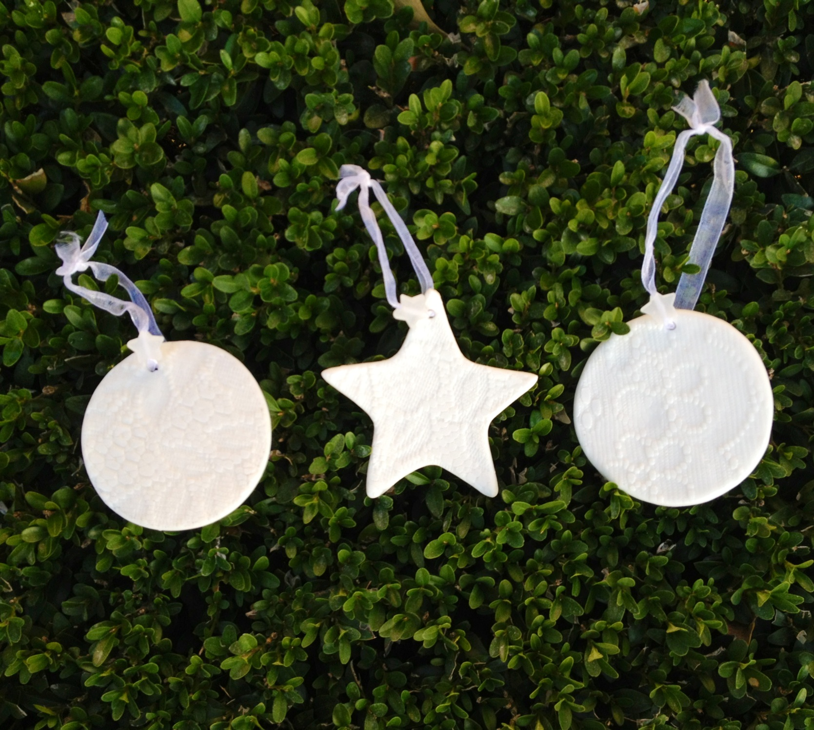 white porcelain tree ornaments