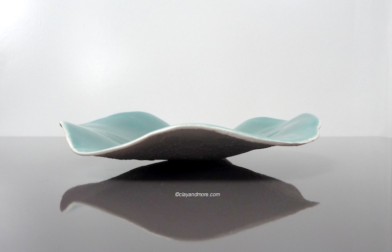teal porcelain laced bowl / dish